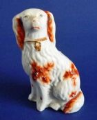Small 19th Century Staffordshire Pottery Russet and White Spaniel c1860